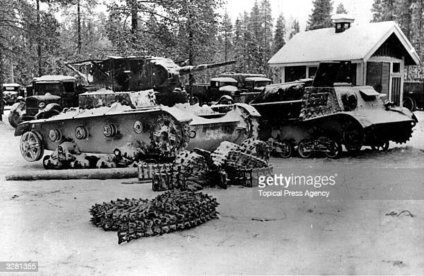Russian tanks captured by the Finns after the battle of Suomussali in which the Soviet 44th Division were wiped out