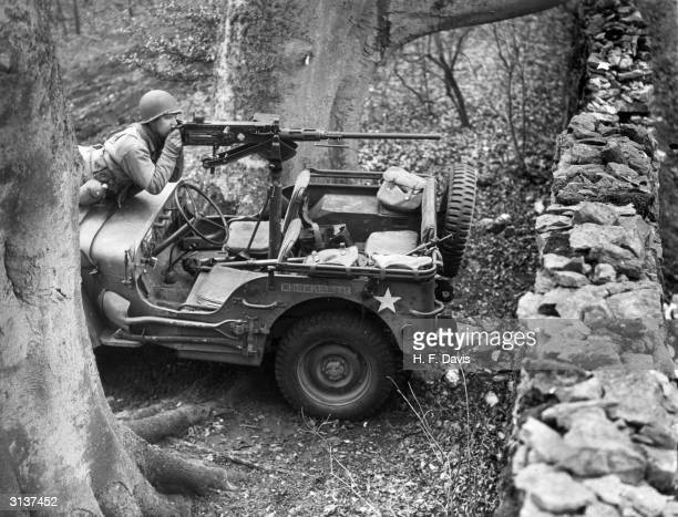 A jeep carrying a heavy calibre machinegun used by an advanced US Reconnaissance Unit during advanced training