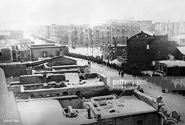 February 1943 After the surrender of Marshal Friedrich PAULUS's Germany Army in Stalingrad hundreds of officers and rank and file prisoners crossing...