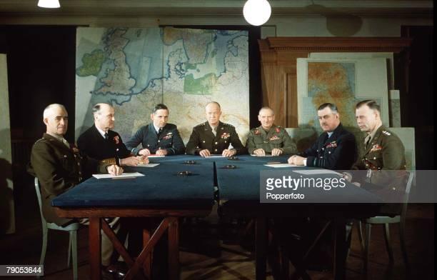 February 1944, World War II, The D Day Commanders, L-R; General Omar Bradley , Admiral Sir Bertram Ramsey, Air Chief Marshal Sir Arthur Tedder,...