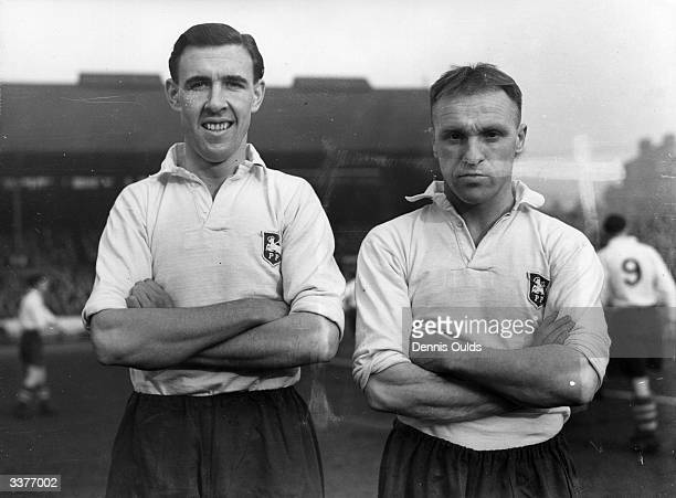 Preston North End football club players W Corbett left and righthalf Bill Shankly later a successful football manager