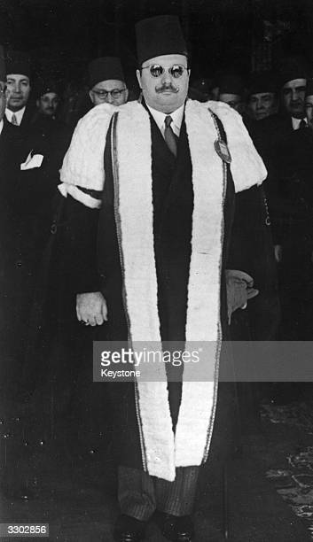 Farouk I King of Egypt from 1937 to 1952 in ceremonial robes at the new Farouk University in Cairo after laying the foundation stone