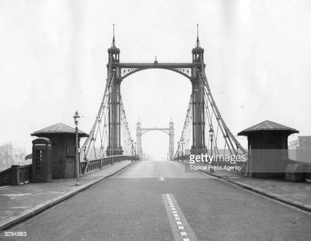 The Albert Bridge over the Thames at Chelsea London which is to be rebuilt and widened to provide a fourlane highway part of a 4year government...