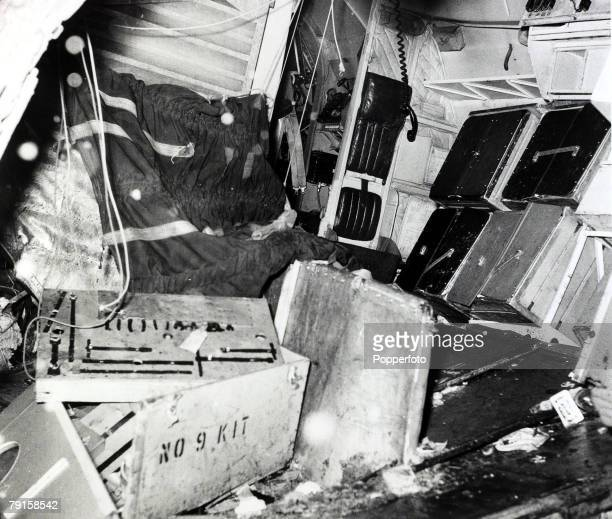 Inside the wreckage of BEA Elizabethan airliner GALZU 'Lord Burghley' after the crash at Munich in which 23 people died including 8 Manchester United...