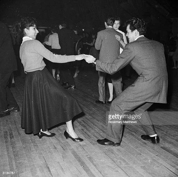 Rock 'n' rollers Beverley Letten from Exmouth competes for the Elvis Presley Cup with her boyfriend Clifford Rowsell at the Wimbledon Palais in London