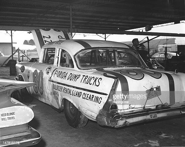 Bobby Rose of Inglewood CA came east to run the first Daytona 500 NASCAR Cup race at Daytona International Speedway in this 1957 Chevrolet owned by...