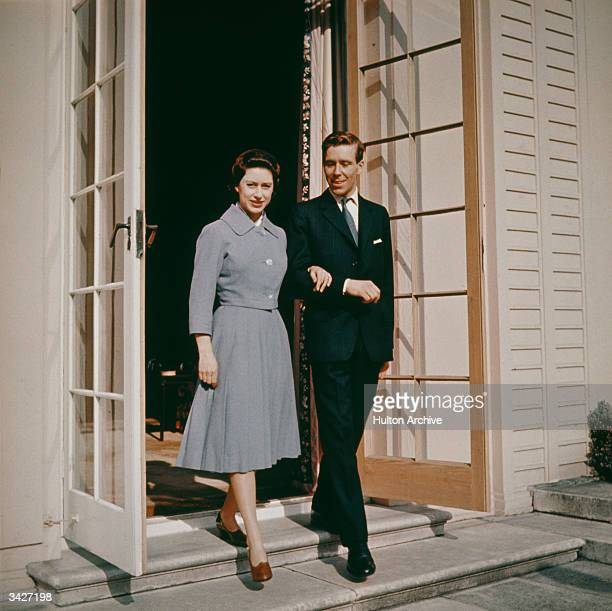 Princess Margaret Rose with her fiance Antony ArmstrongJones at Royal Lodge Windsor on the day they announced their engagement