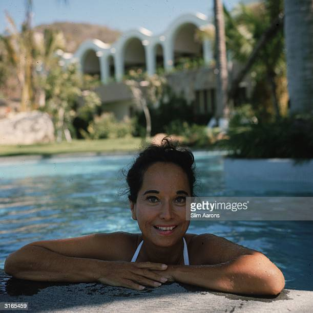 Actress Merle Oberon on holiday in Acapulco Mexico
