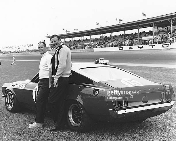 Driver Parnelli Jones and car owner Bud Moore with the Ford Mustang they entered in the Citrus 250 NASCAR Grand Touring race at Daytona International...