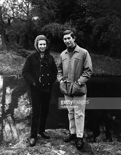 Charles Prince of Wales and Princess Anne in the grounds of Sandringham House Norfolk prior to their Royal Tour of Australasia