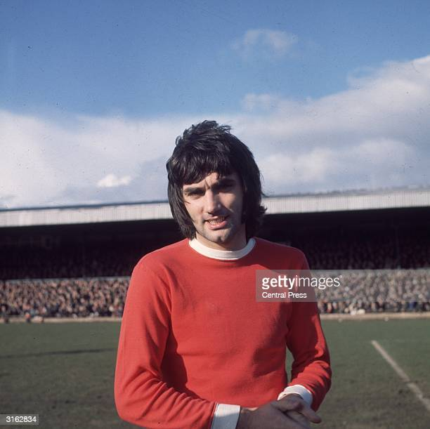 Star Manchester United footballer George Best at the FA Cup Tie between Northampton and Manchester United.
