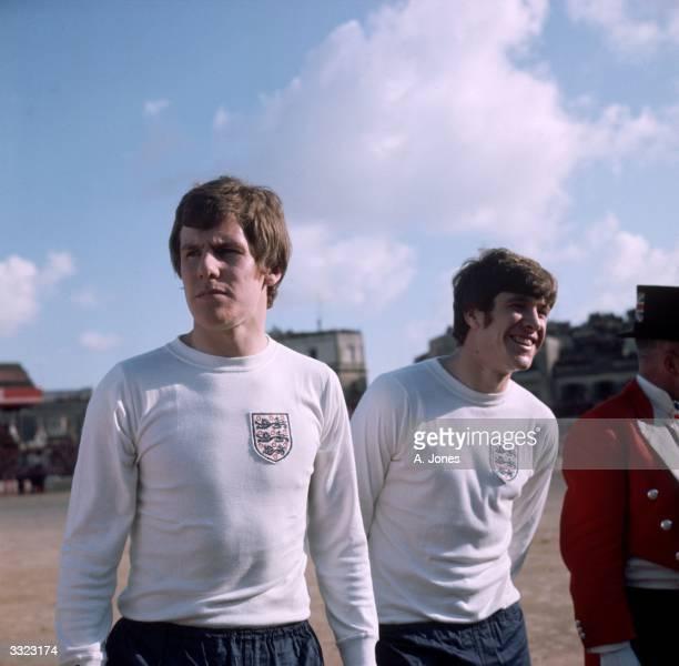 England footballers Joe Royle and Emlyn Hughes in Valletta Malta for their European Championship qualifying match against Malta