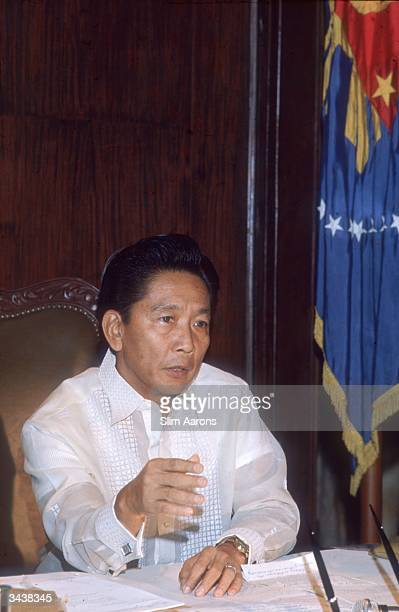 Ferdinand Marcos President of the Phillipines from 1965 to 1986 in his office