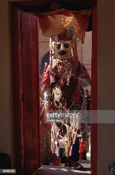 Tantric monk in ceremonial costume at the Kalachakra Initiation Ceremony held in Bodh Gaya in the state of Bihar in north-eastern India.