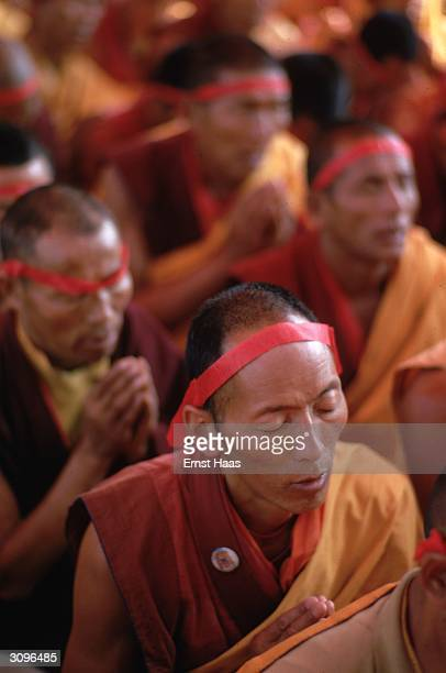 Buddhist monks at the Kalachakra Initiation Ceremony held in Bodhgaya in the state of Bihar in north-eastern India.