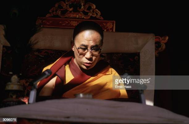 Tibet's 14th Dalai Lama Tenzin Gyatso officiating at the Kalachakra Initiation Ceremony held in Bodh Gaya in the state of Bihar in northeastern India