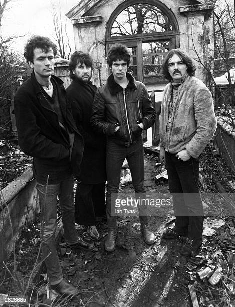 Punk rock group the Stranglers at the start of their controversial recording career standing in a derelict house from left to right Hugh Cornwell Jet...