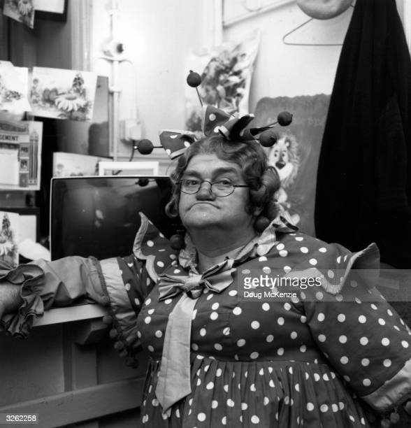 British comedian Les Dawson dressed as a Pantomime Dame