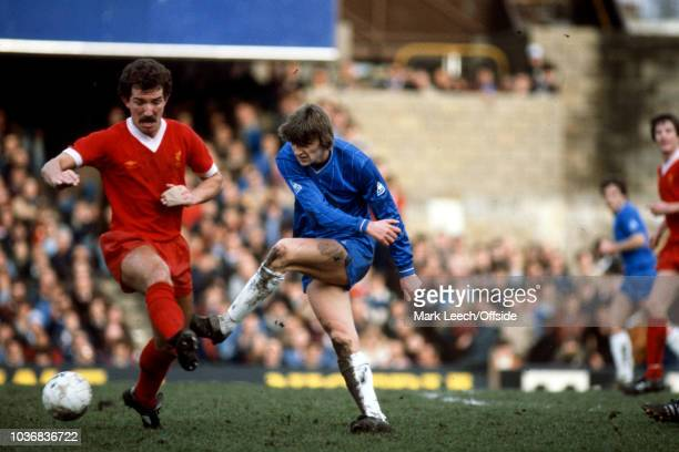 13 February 1982 Football League Division One Chelsea v Liverpool Colin Pates of Chelsea clears the ball from Graeme Souness of Liverpool
