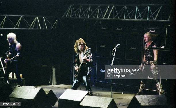February 1982]: MANDATORY CREDIT Bill Tompkins/Getty Images Judas Priest performs at Madison Square Garden February 1982 in New York City.