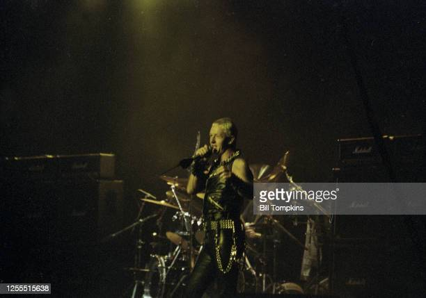 MANDATORY CREDIT Bill Tompkins/Getty Images Rob Halford of Judas Priest performs at Madison Square Garden February 1982 in New York City