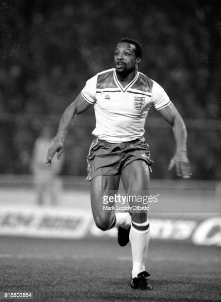 February 1982 Wembley ; International football; England v Northern Ireland; Cyrille Regis of England .