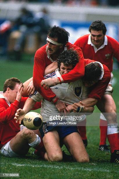 February 1989 Paris - 5 Nations Rugby - France v Wales, Robert Norster gets hold of Eric Champ by the head as the French flanker spills the ball.