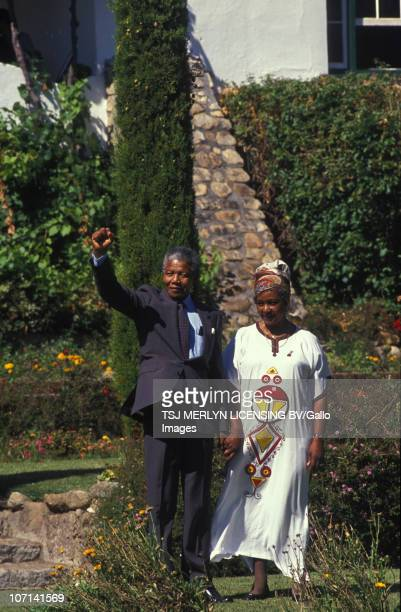 Nelson Mandela and wife Winnie MadikizelaMandela at Bishop's Court one day after Nelson Mandela's release from prison 12 February 1990
