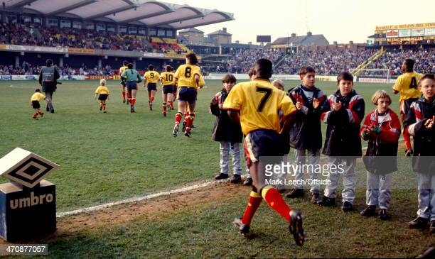 02 February 1991 Football League Division Two Watford v Sheffield Wednesday The Watford team emerge from the tunnel onto the pitch