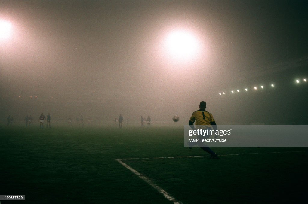 03 February 1993 FA Cup 4th round replay - Wimbledon v Aston Villa, Wimbledon goalkeeper Hans Segers kicks the ball into the fog at Selhurst Park.