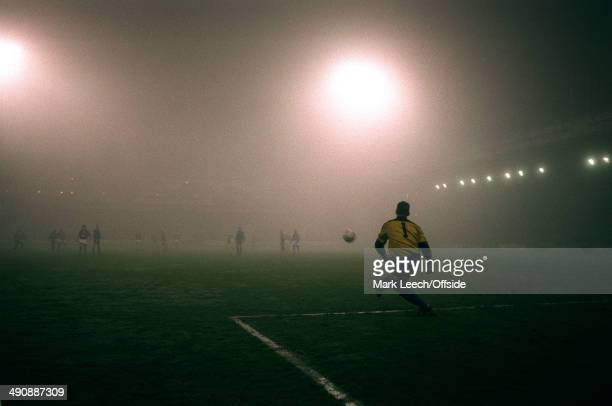 03 February 1993 FA Cup 4th round replay Wimbledon v Aston Villa Wimbledon goalkeeper Hans Segers kicks the ball into the fog at Selhurst Park