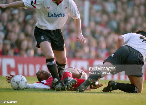 13 February 1993 London FA Cup 5th round Arsenal v Nottingham Forest Ian Wright of Arsenal slides to make a tackle