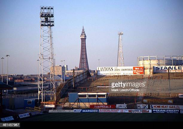 02 February 1994 Blackpool Towervisible in the distance beyond the crumbling Kop terraces of Bloomfield Road home of Blackpool FC