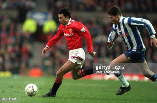 13 February 1994 Coca Cola Football League Cup Semi Final Manchester United v Sheffield Wednesday Ryan Giggs of United is tracked by Chris Waddle