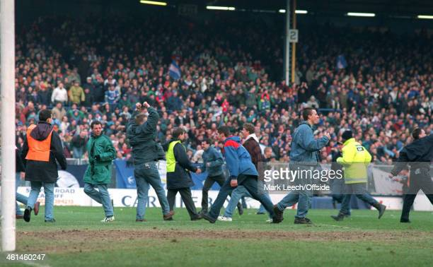 February 1994 FA Cup 5th Round Football - Cardiff City v Luton Town, Cardiff fans invade the pitch.