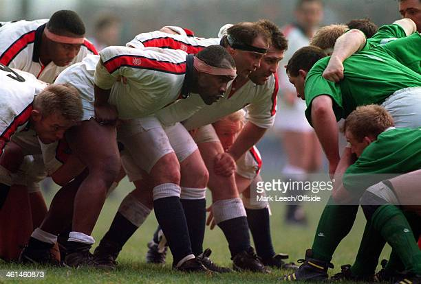 19 February 1994 Five Nations Rugby England v Ireland Twickenham The England front row of Victor Ubogu Brian Moore and Jason Leonard prepare to...