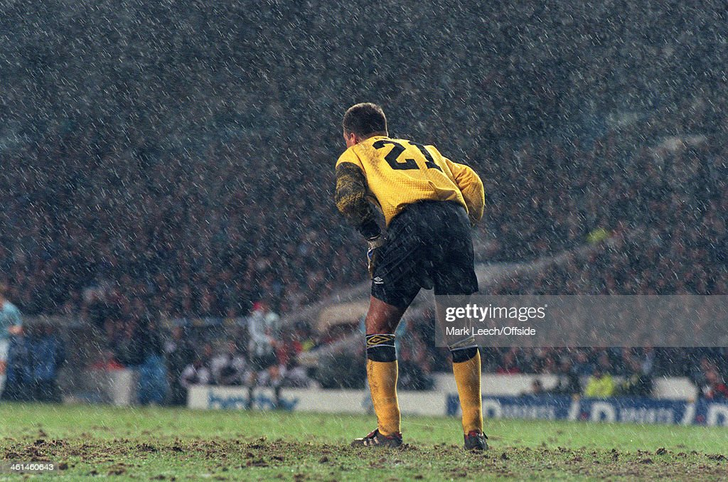 Goalkeeper In Rain At Maine Road 1994 : News Photo
