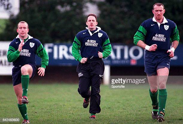 2 February 1999 Ireland's Conor McGuinness left David Humphreys and Trevor Brennan right warmup before a squad training session Ireland Rugby Squad...