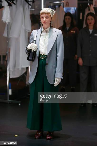 A model walks the runway during the Gucci fashion show as part of Milan Fashion Week Fall/Winter 20202021 on February 19 2020 in Milan Italy