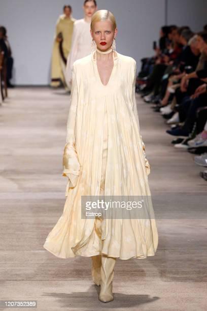 February 19th: Model Marjan Jonkman walks the runway during the Jil Sander fashion show as part of Milan Fashion Week Fall/Winter 2020-2021 on...