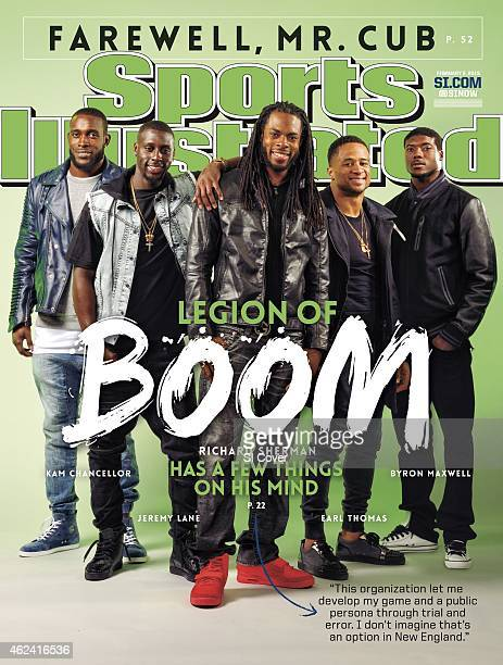 February 2 2015 Sports Illustrated Cover Super Bowl XLIX Preview Casual portrait of Seattle Seahawks defensive backs Kam Chancellor Jeremy Lane...