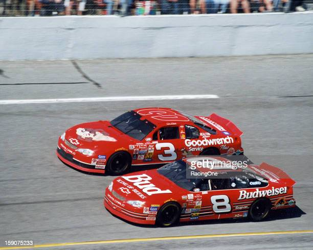 Dale Earnhardt and Dale Earnhardt Jr race each other during the Daytona 500 NASCAR Cup race at Daytona International Speedway The younger Earnhardt...