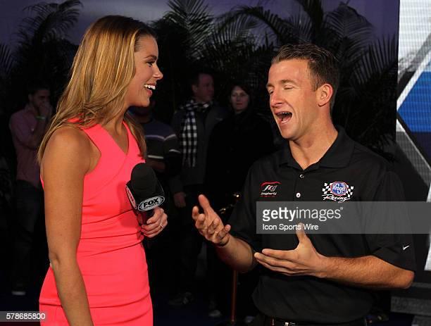 AJ Almendinger and FOX Sports pit reporter Jenny Taft at the Fox Daytona 500 Beach Bash taped in Daytona Beach Florida