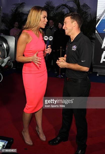 AJ Almendinger is interviewed by FOX Sports pit reporter Jenny Taft at the Fox Daytona 500 Beach Bash taped in Daytona Beach Florida