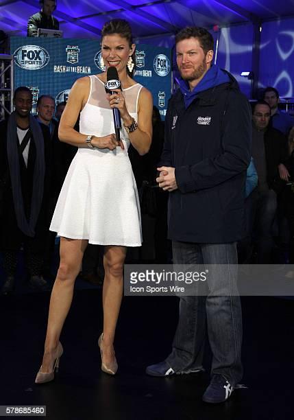 Dale Earnhardt Jr is interviewed by Fox Sports Jamie Little at the Fox Daytona 500 Beach Bash taped in Daytona Beach Florida