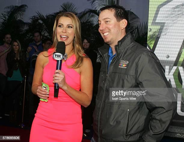 Kyle Busch and FOX Sports pit reporter Jenny Taft at the Fox Daytona 500 Beach Bash taped in Daytona Beach Florida