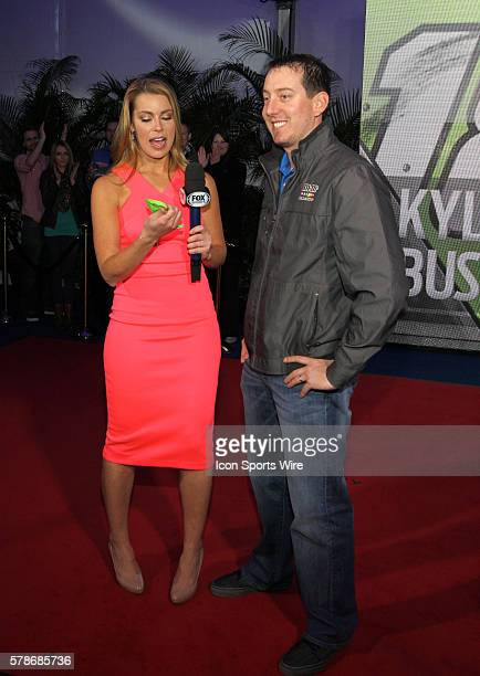 Kyle Busch is interviewed by FOX Sports pit reporter Jenny Taft at the Fox Daytona 500 Beach Bash taped in Daytona Beach Florida