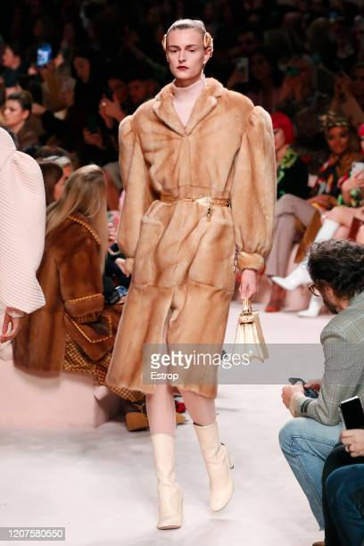 February 20: A model walks the runway during the Fendi fashion show as part of Milan Fashion Week Fall/Winter 2020-2021 on February 20, 2020 in...