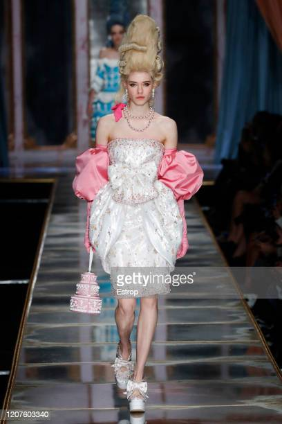 February 20: A model walks the runway during the Moschino fashion show as part of Milan Fashion Week Fall/Winter 2020-2021 on February 20, 2020 in...