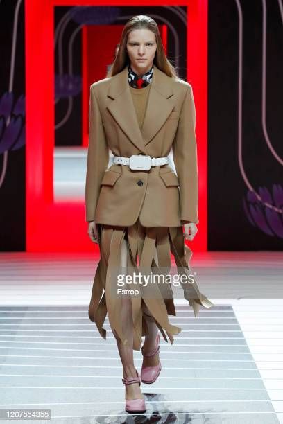 February 20: A model walks the runway during the Prada fashion show as part of Milan Fashion Week Fall/Winter 2020-2021 on February 20, 2020 in...